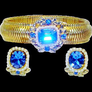 Vintage Coro Expansion Bracelet Earrings Set Sapphire Rhinestones Faux Pearls
