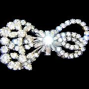Vintage Bow Brooch Diamante Rhinestones
