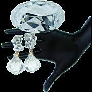 Vintage Kramer Clear Lucite Dangle Earrings Bangle Bracelet