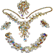 Vintage Juliana Fx Pearl Rhinestone Crystal Necklace Bracelet Brooch Earrings