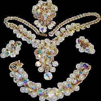 Vintage Juliana Fx Pearl Rhinestone Crystal Necklace Bracelet Brooch Earrings