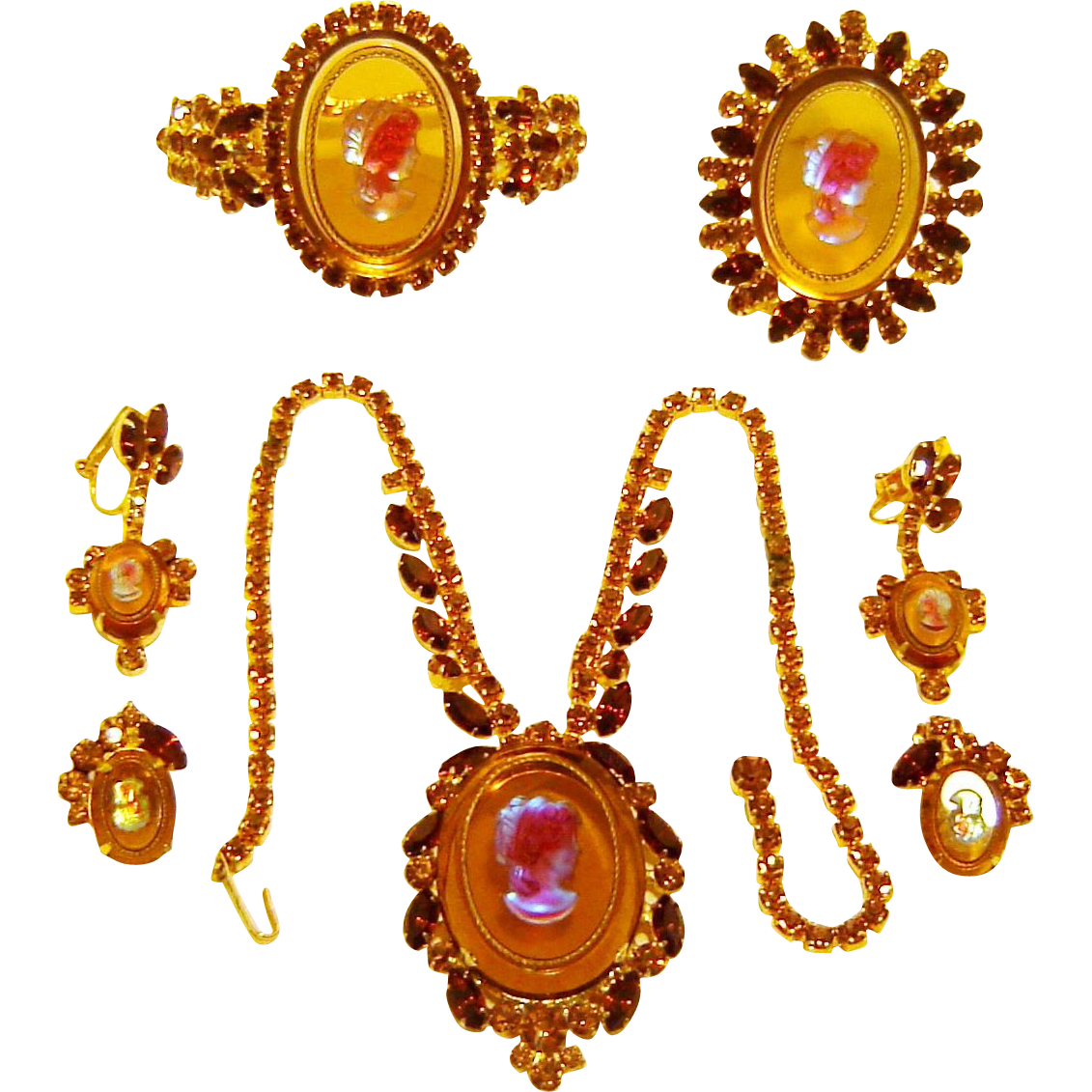Vintage Juliana Cameo Necklace Clamper Bracelet Brooch Earrings