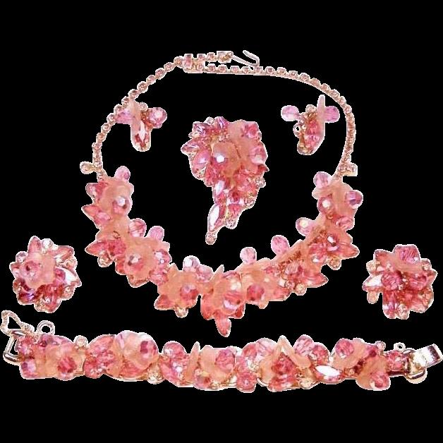 Vintage Juliana Dangles Necklace Bracelet Brooch Earrings Frosted Petals Rhinestones