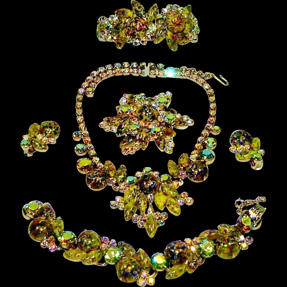 Vintage Juliana Necklace Bracelet Brooch Earrings Clamper Green Harlequin AB Rhinestone  D&E Book Set