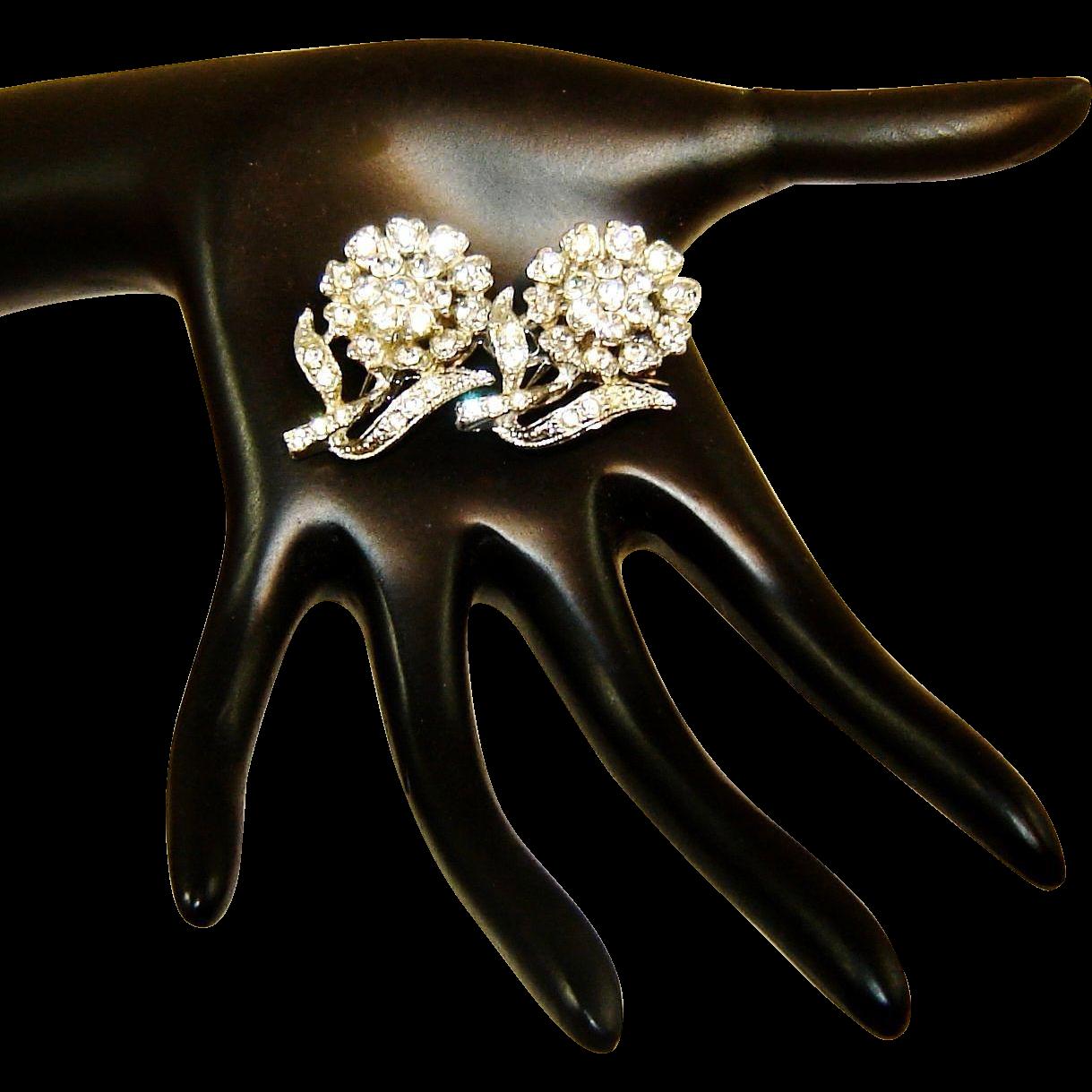 Vintage Coro Duette Diamante Rhinestones Flowers Patent Ad