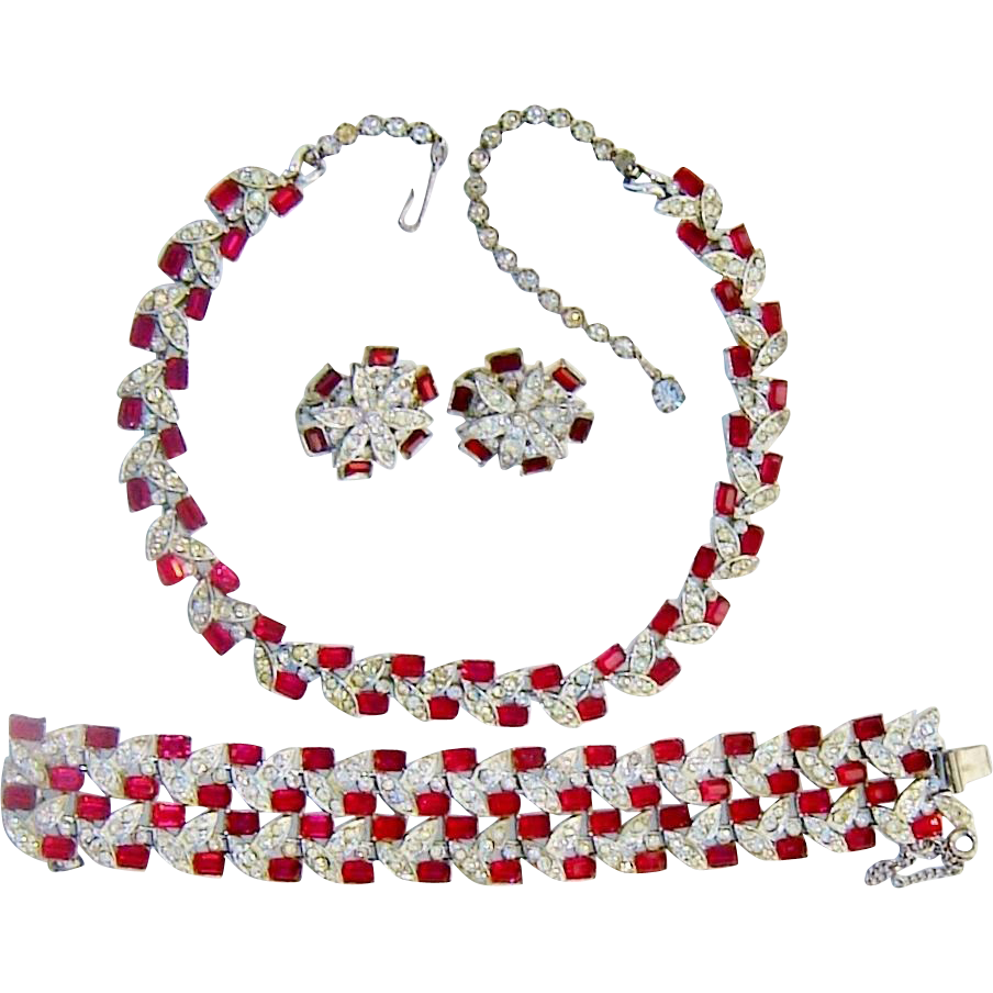 Vintage Coro Francois Red Diamante Rhinestone Necklace Bracelet Earrings