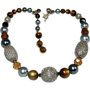 Vintage De Mario Necklace Art Glass Bead Crystal Fx Pearl Rhinestone