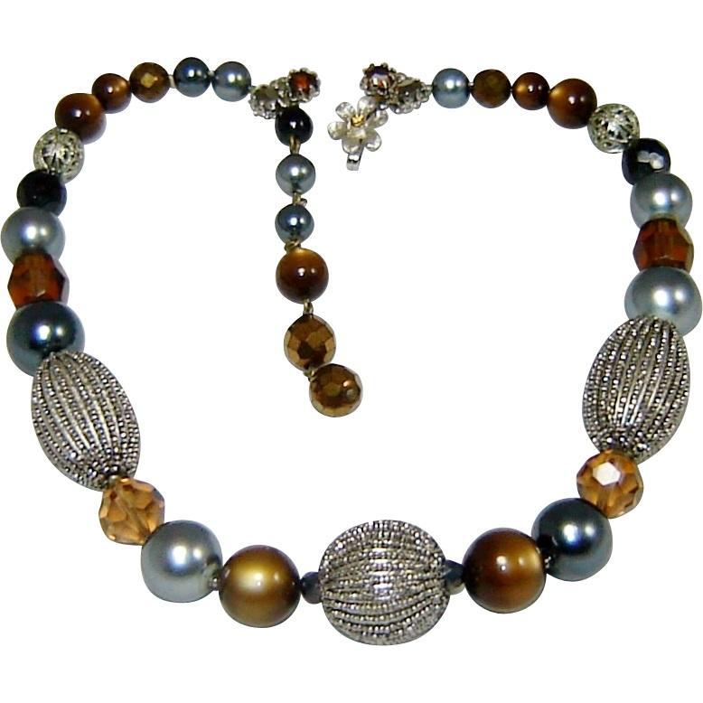 Vintage De Mario Necklace Art Glass Bead Crystal Fx Pearl Rhinestone