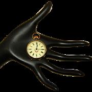 Vintage A Schild Ladies Pocket Watch Hand Painted Porcelain Dial Gunmetal Case