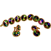 Vintage Vendome Bracelet Earrings Watermelon Rivoli Rhinestone Book Set