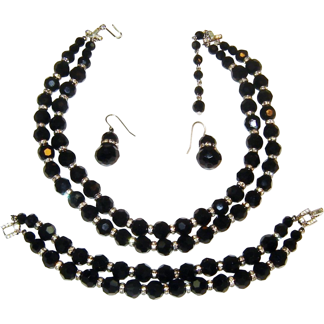 Vintage Trifari Necklace Bracelet Earrings Black Crystal Rhinestone Rondelle Set