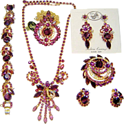 Vintage Juliana Purple Chalk 2 Necklaces Bracelet Brooch 2 Pr Earrings D&E Book Set