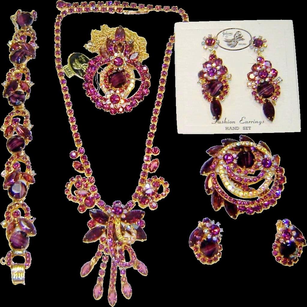 Vintage Juliana Purple Chalk 2 Necklaces Bracelet Brooch 2 Pr Earrings D&E Book Set