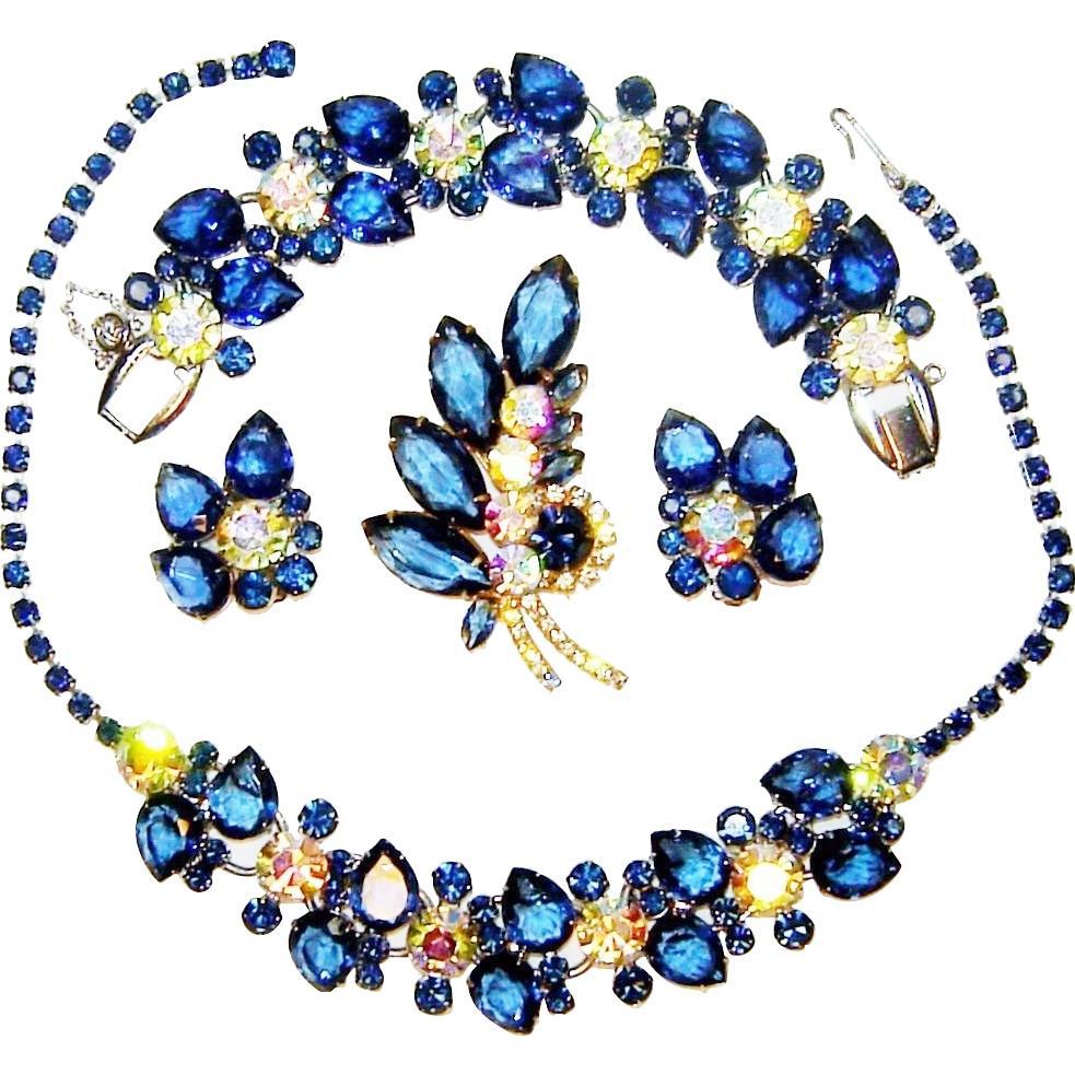 Vintage Juliana Necklace Bracelet Brooch Earrings Sapphire Blue AB Rhinestones D&E Book Set