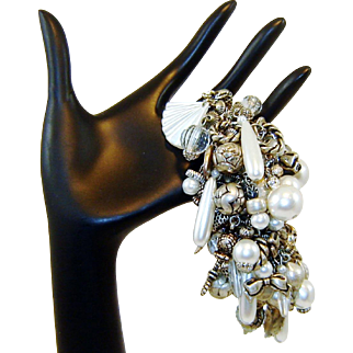 Vintage Cha Cha Bracelet Charms Beads Fx Pearls Crystals