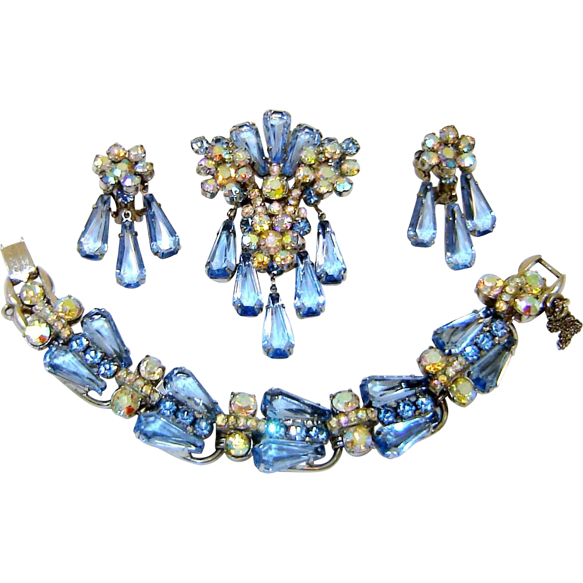 Vintage Juliana Blue AB Rhinestone Pentagon Bracelet Brooch Earrings