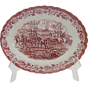 Myott Pink Red Transferware Platter Country Life