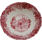 Meakin Pink Red Transferware Bowl Romantic England