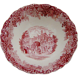 Meakin Pink Red Transferware Bowl Romantic England