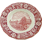 Palissy Red Pink Transferware Bowl Thames River Scenes Pottery