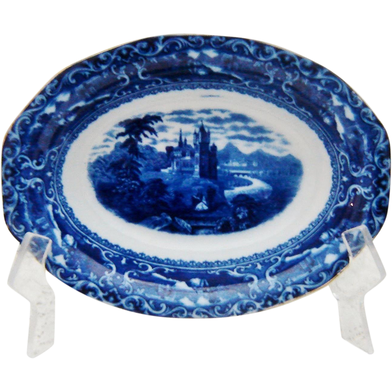 Antique Doulton Flow Blue Watteau Bowl
