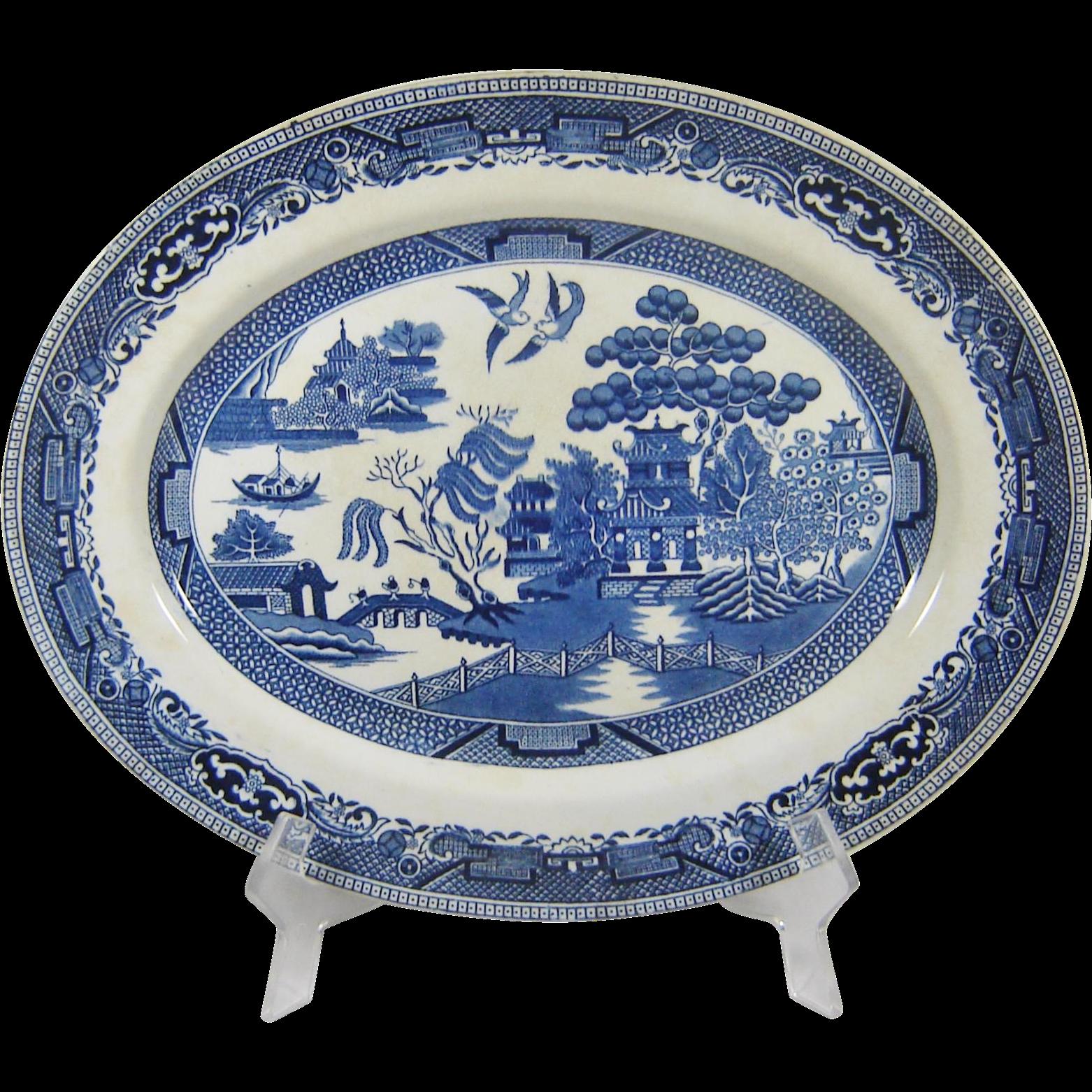 Swinnerton Blue Willow Platter Large England Transferware