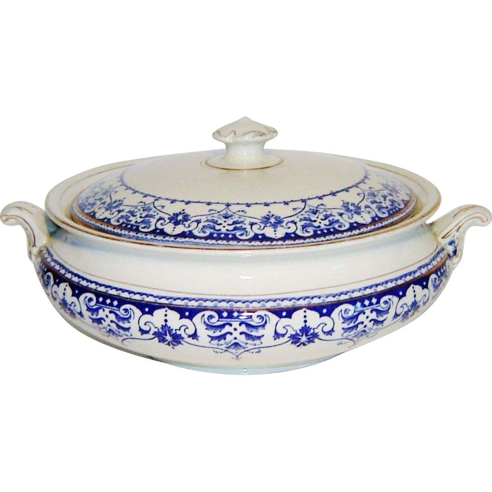 Art Deco Flow Blue Tureen Covered Dish Rialto Ware