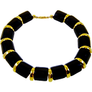 Vintage Napier Necklace Black Lucite Gold Tone Mod