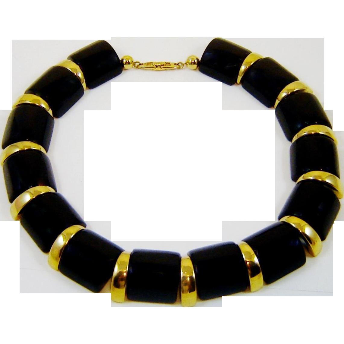 Vintage Napier Necklace Black Lucite Gold Tone Mod