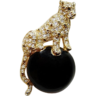 Vintage Napier Panther Brooch Enamel Rhinestone