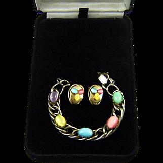 Vintage Kafin Bracelet Earrings Moonstone Art Glass Cabochons