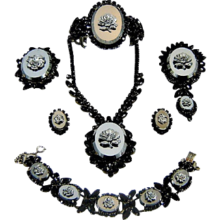 Vintage Juliana Hematite Rose Necklace Clamper, Line Bracelet Brooch Pendant Earrings