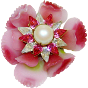 Vintage Early Vrba Brooch Ruffled Glass Flower Fx Pearls Rhinestones