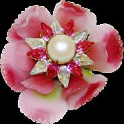 Vintage Early Vrba Brooch Ruffled Glass Flower Fx Pearls Rhinestones