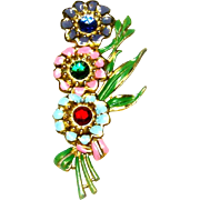 Vintage Brooch Enamel Rhinestone Flowers