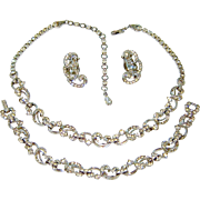 Vintage Pennino Necklace Bracelet Earrings Diamante Rhinestones