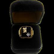 Vintage 14K Gold Onyx Diamond Ring