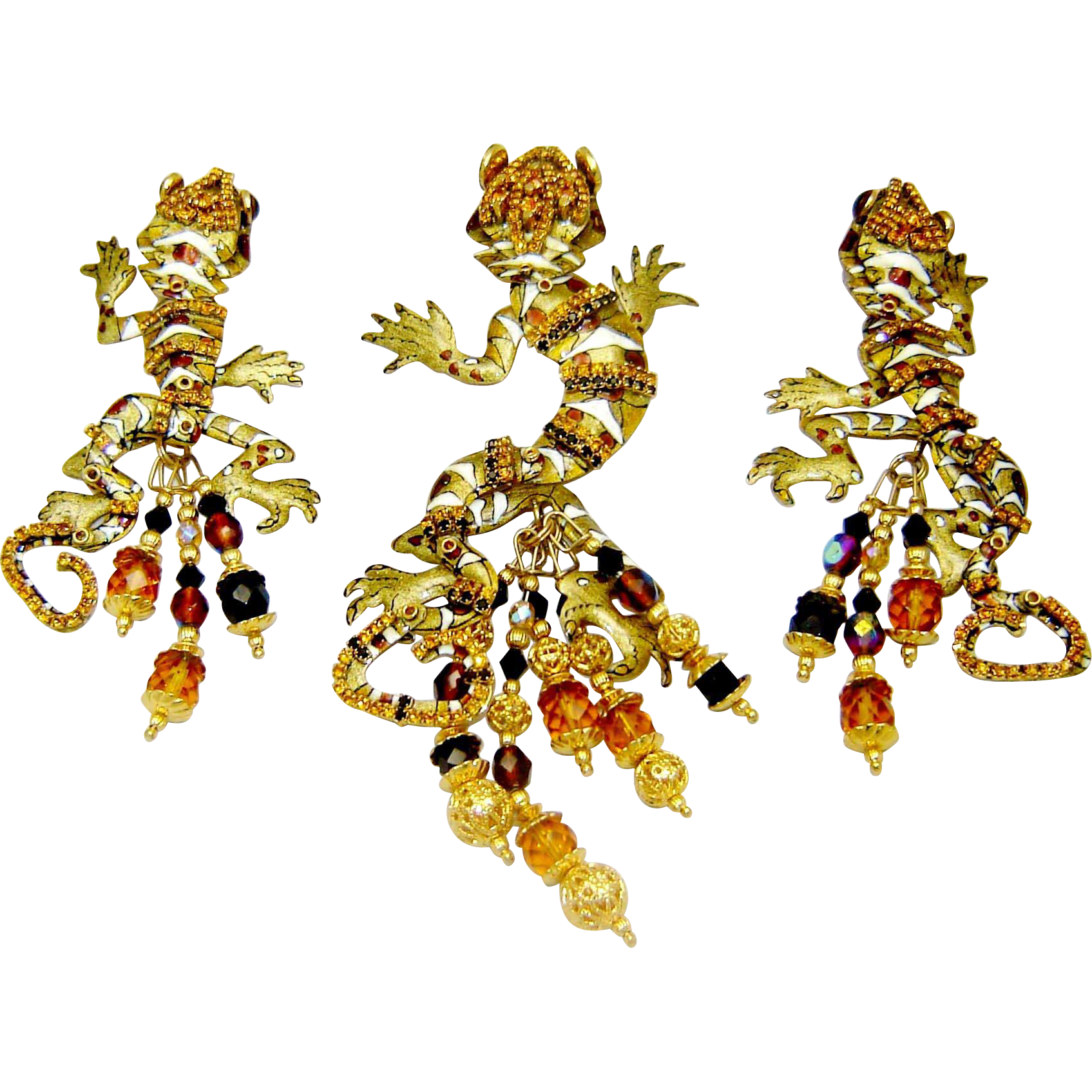 Vintage Lunch at The Ritz Leapin Lizard Brooch Pendant Earrings Leapin Lizard Set