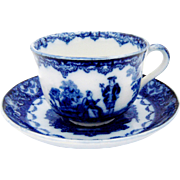 Royal Doulton Watteau Cup Saucer Flow Blue