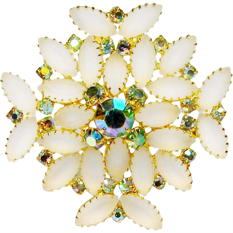 Vintage White Frost Rhinestone Brooch Aquamarine AB Accents