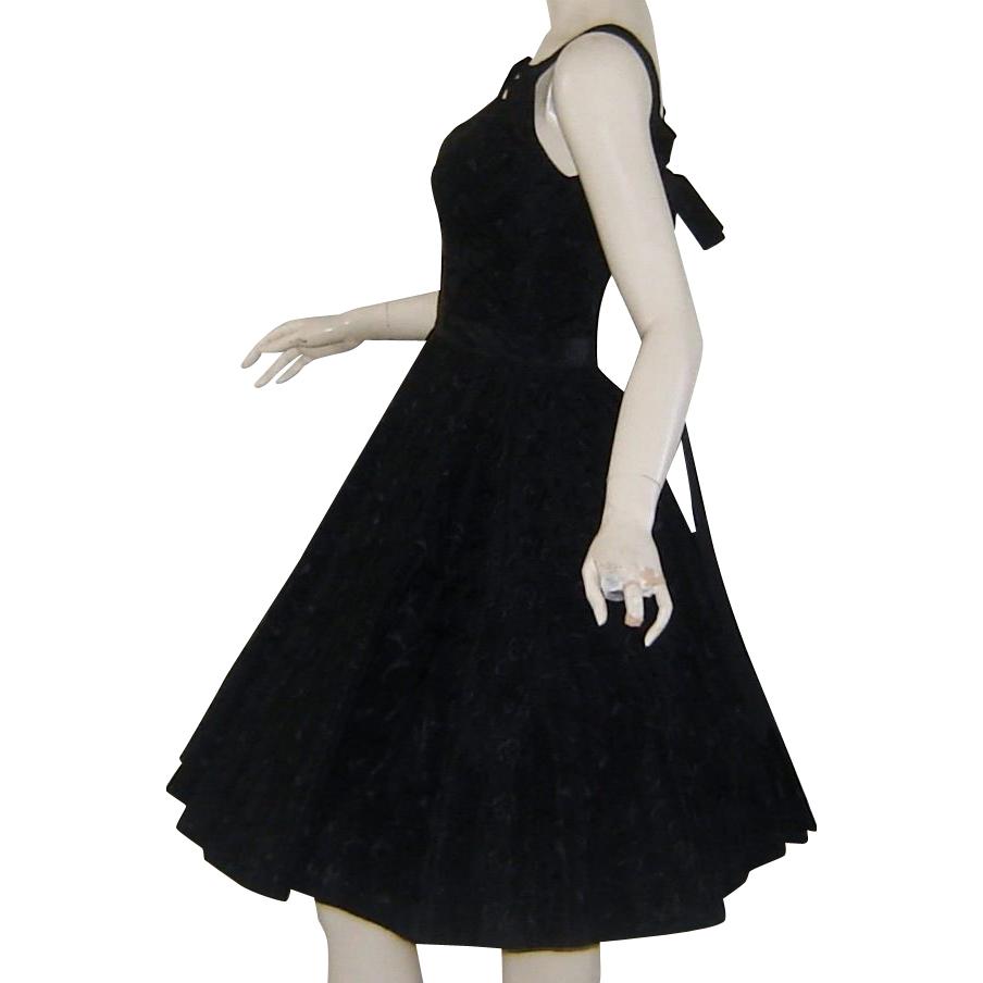 Vintage 1950s Designer Black Party Dress