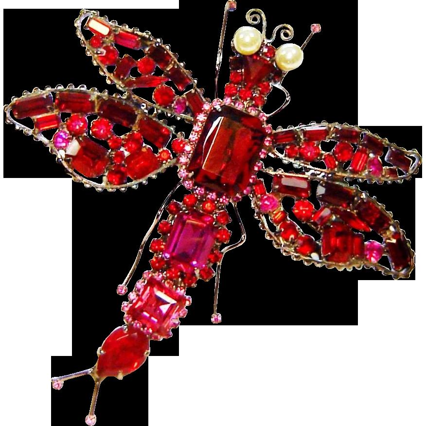 Vrba Dragonfly Brooch Massive Red Pink Rhinestone