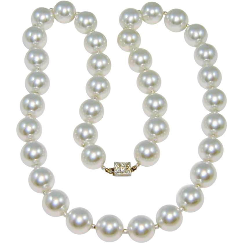 Vintage Necklace Glass Pearl Rhinestone Clasp