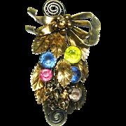 Vintage Hobe Sterling Brooch Vermeil Rhinestone Bouquet
