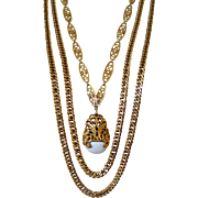 Vintage Necklace Triple Strand Golden Chains Fx Marble Pendant