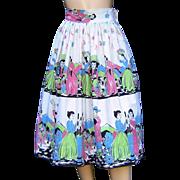 Vintage Mexican Skirt Fiesta Scenes