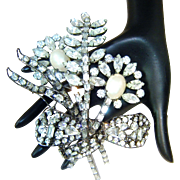 Vrba Brooch Faux Pearl Rhinestone Flowers Bow Huge
