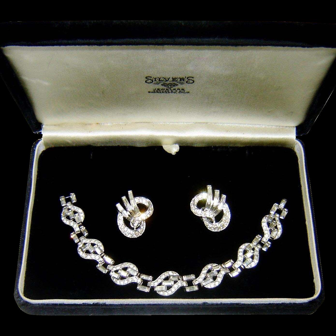 Vintage Trifari Bracelet Earrings Baguette Rhinestones