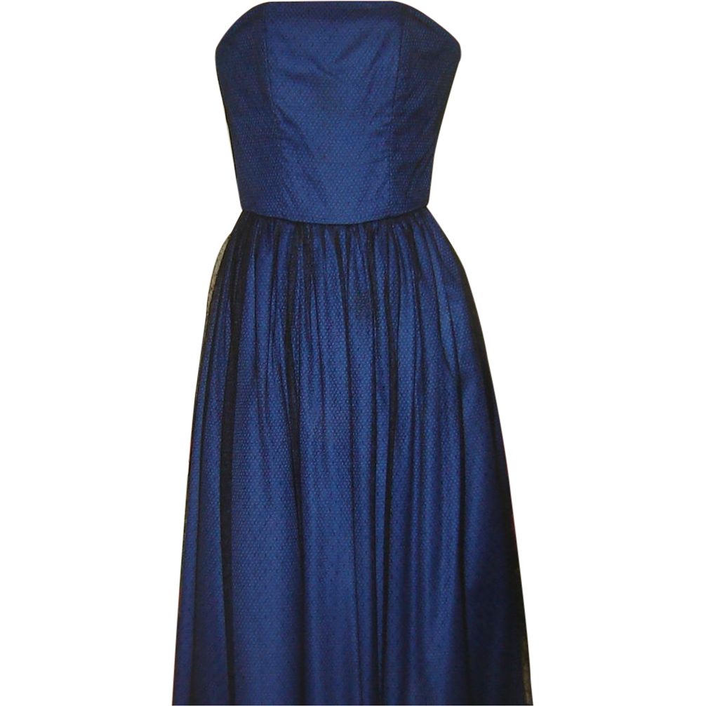 Vintage 1980s Designer Dress Strapless