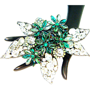 Vrba Flower Brooch Art Glass Rhinestones Crystals